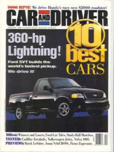 January 1999 Car and Driver Cover